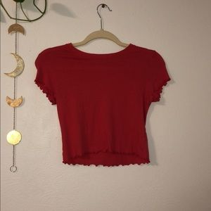 Red Pacsun Lettuce Edge Crop Top